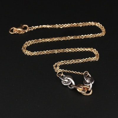 14k Yellow Gold Necklace with White Gold Link Accents