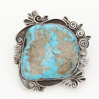 Liz PM Navajo Diné Sterling Silver Turquoise Bolo Tie Slide