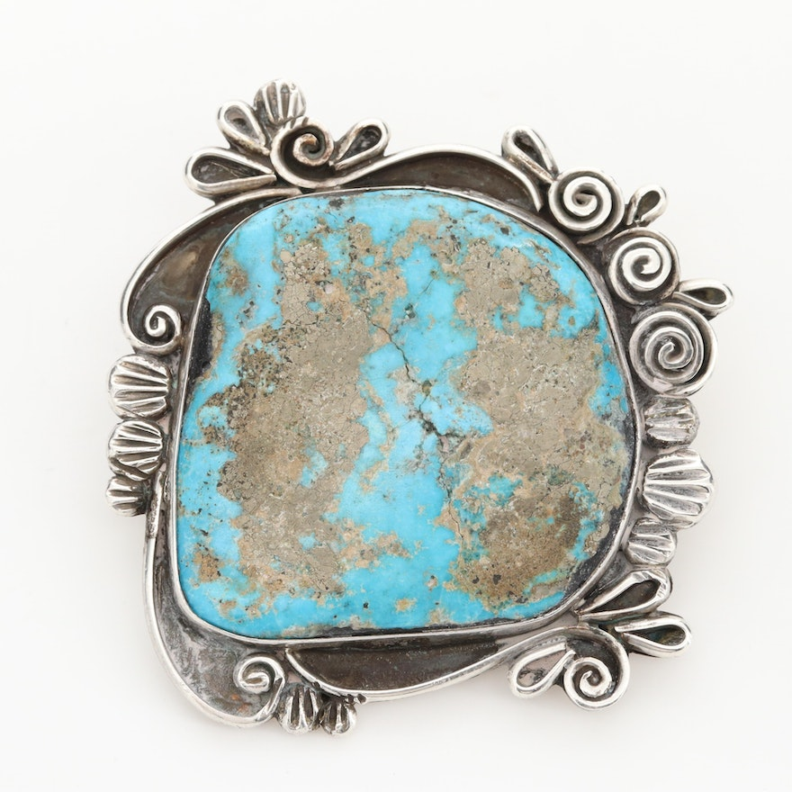 Liz PM Navajo Diné Sterling Silver Turquoise Bolo Tie Slide