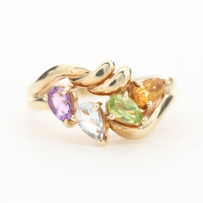 10K Yellow Gold Citrine, Peridot, Aquamarine and Amethyst Ring