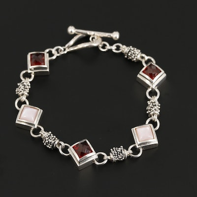 Michael Dawkins Sterling Silver Garnet and Mother of Pearl Bracelet