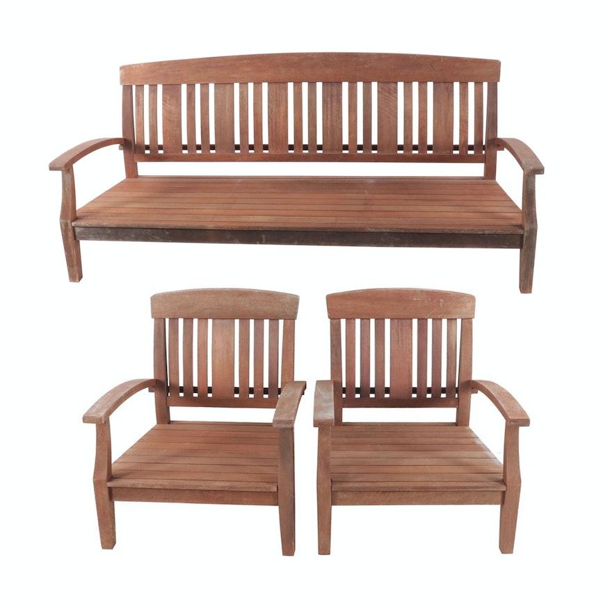Contemporary Teak Patio Sofa and Chair Set