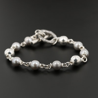 Michael Dawkins Sterling Silver Cultured Pearl Bracelet