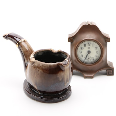 Jennings Brothers Bronze Tone Desk Clock and Ceramic Cigar Shaped Ashtray