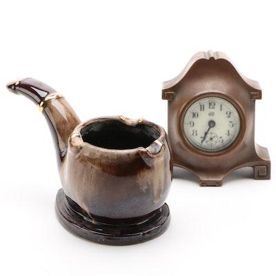 Jennings Brothers Bronze Tone Desk Clock and Ceramic Cigar Shaped Ashtray
