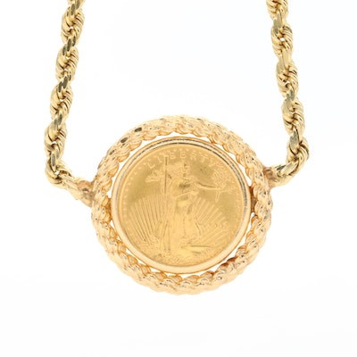 14K Yellow Gold Rope Chain and Bezel Necklace with 2002 Gold Eagle Bullion Coin