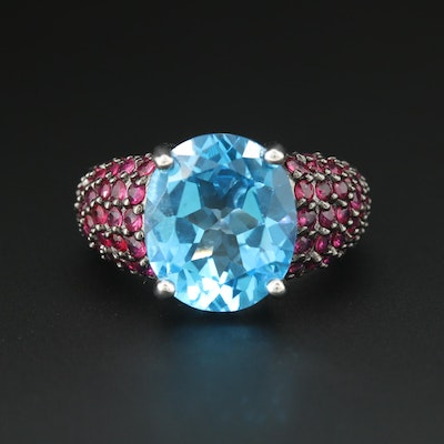 Sterling Silver Blue Topaz and Ruby Ring