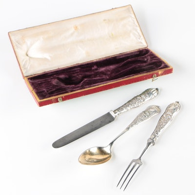 Austrian 812 Silver Three-Piece Flatware Set with Original Case, 1804 - 1867