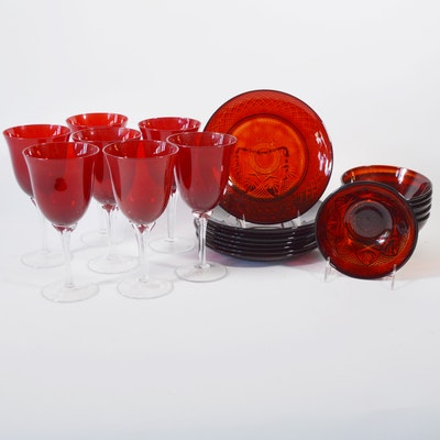 "Cristal D'Arques-Durand ""Antique Ruby"" Dinnerware and Other Goblets"