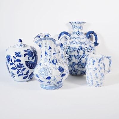 Blue and White Ceramic Ewer, Lidded Jar, Pitcher, and Wall Pocket