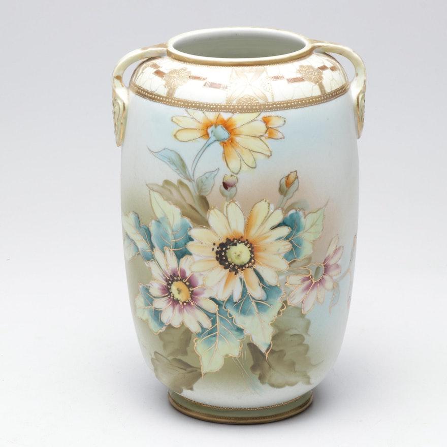 Japanese Hand-Painted Gilt Embossed Porcelain Urn