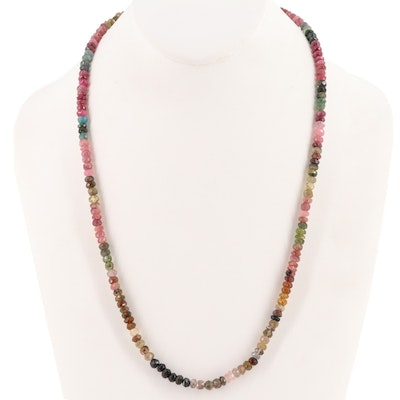 14K Yellow Gold Tourmaline Beaded Necklace