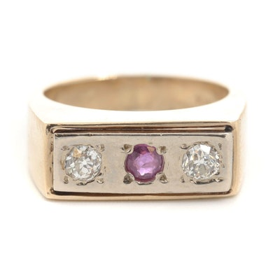 14K Yellow Gold Ruby and Diamond Band with White Gold Top