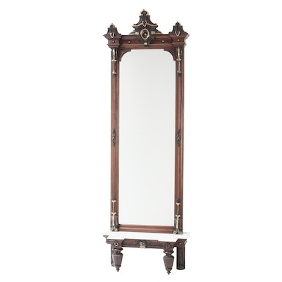 Neo-Grec Parcel-Gilt and Carved Walnut Pier Mirror with Console, Circa 1870