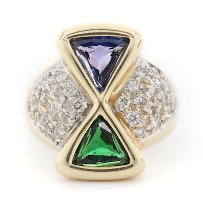 14K Yellow Gold Peridot, Tanzanite, and Diamond Ring