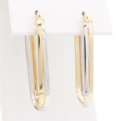 14K Yellow and White Gold Oval Hoop Earrings