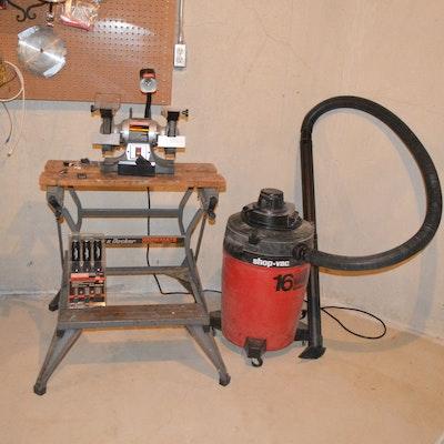 Black & Decker Workmate Work Bench, Craftsman Bench Grinder, and Wet/Dry Vac