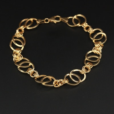 14k Yellow Gold Concentric Link Bracelet