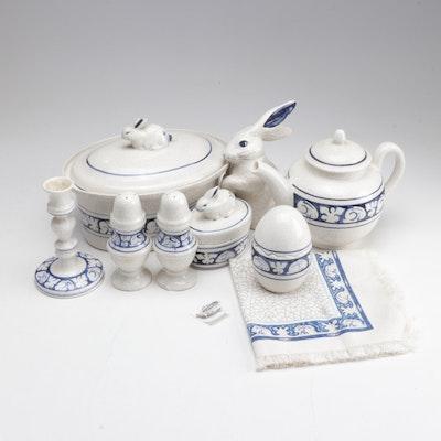 Dedham Potting Shed Blue Rabbit Crackle Pottery Collection