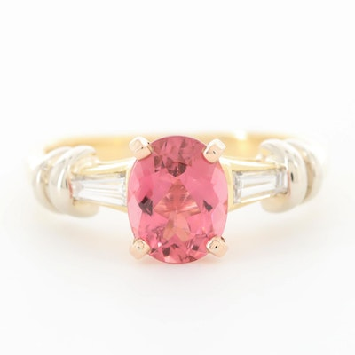 18K Yellow Gold Pink Tourmaline and Diamond Ring with 14K Accent