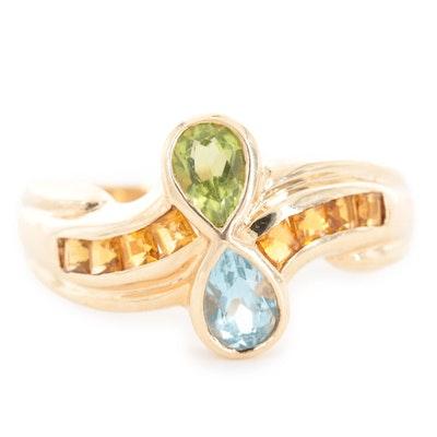 10K Yellow Gold Peridot, Topaz and Citrine Ring