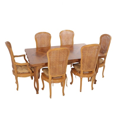 Italian Wooden Dining Table with Six Cane Upholstered Chairs