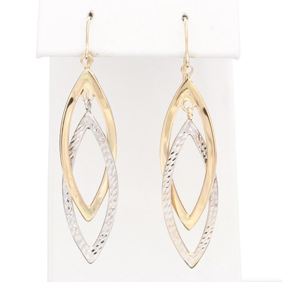 14K Yellow and White Gold Navette Dangle Earrings