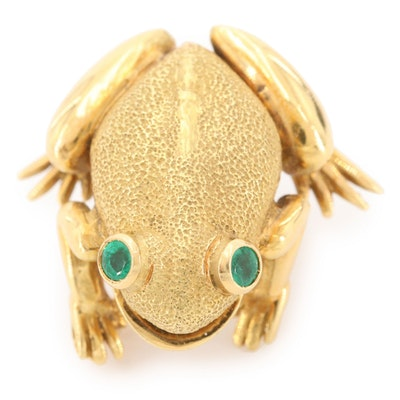Vintage 18K Yellow Gold Emerald Eyed Frog Brooch