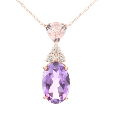 14K Rose Gold Morganite, Amethyst and Diamond Pendant Necklace