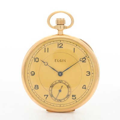 Antique 14K Gold Elgin Open Face Pocket Watch, 1917