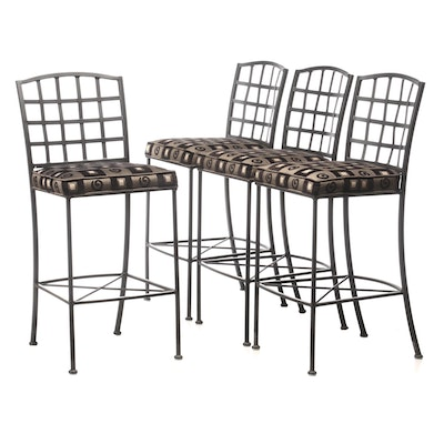 Johnston Casuals Furniture, Four Ebonized Metal Bar Stools