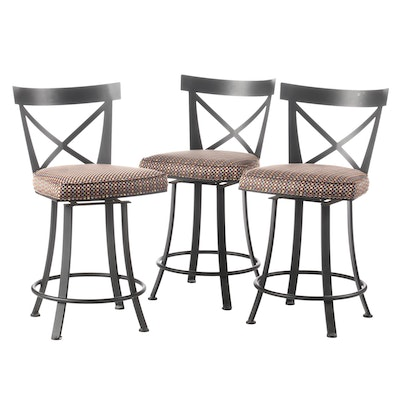 Johnston Casuals Furniture, Three Ebonized Counter-Height Swivel Bar Stools