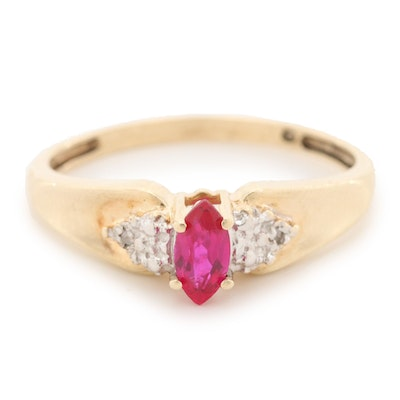 10K Yellow Gold Synthetic Ruby and Diamond Ring