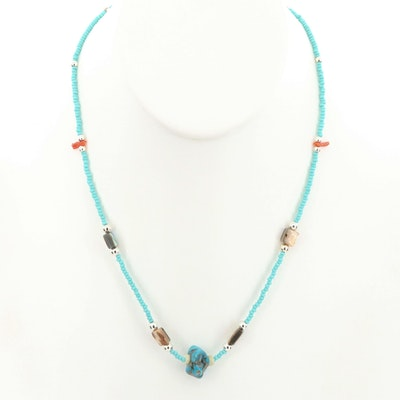Southwestern Style Turquoise Beaded Necklace with Abalone and Coral Accents