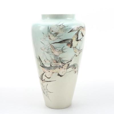 "Elsa Basson for Belleek Willets ""Flight of Swallows"" Porcelain Vase, April 1903"
