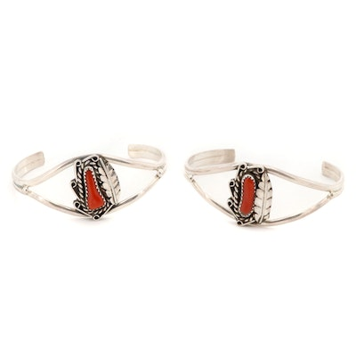Southwestern Style Sterling Silver Coral Cuffs