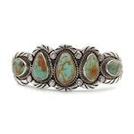 Elsie Yazie Navajo Diné Sterling Silver Turquoise Cuff Bracelet