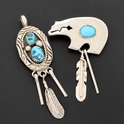 Southwestern Style Sterling Silver Turquoise Brooch and Pendant