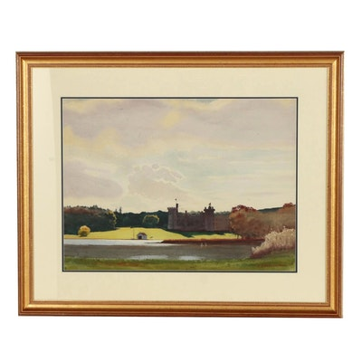 "Edmond Fitzgerald Watercolor Painting ""Castle in Ireland"""