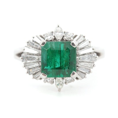 Platinum 2.53 CT Emerald and Diamond Ring
