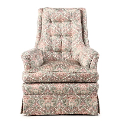 Button-Tufted and Paisley-Upholstered Armchair, Late 20th Century