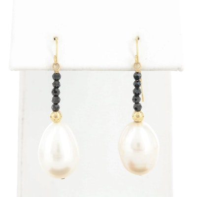 14K Yellow Gold Cultured Pearl and Black Onyx Earrings