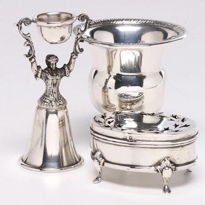 Sterling Silver Wedding Cup, Toothpick Holder and English Trinket Box