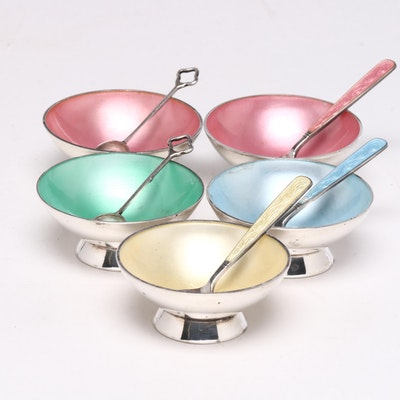 Volmer Bahner Danish Modern Silver Enameled Salt Cellars and Spoons
