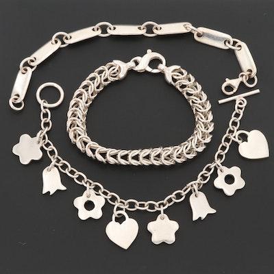 Sterling Silver Bracelets Including a Charm Bracelet