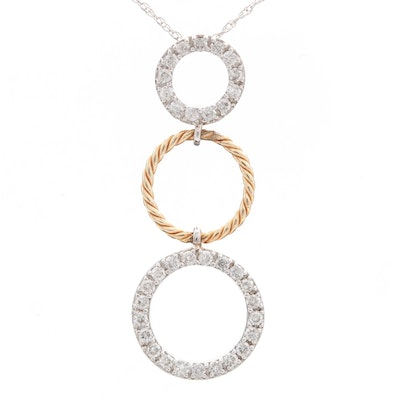 14K White Gold Diamond Concentric Pendant Necklace with Yellow Gold Accent