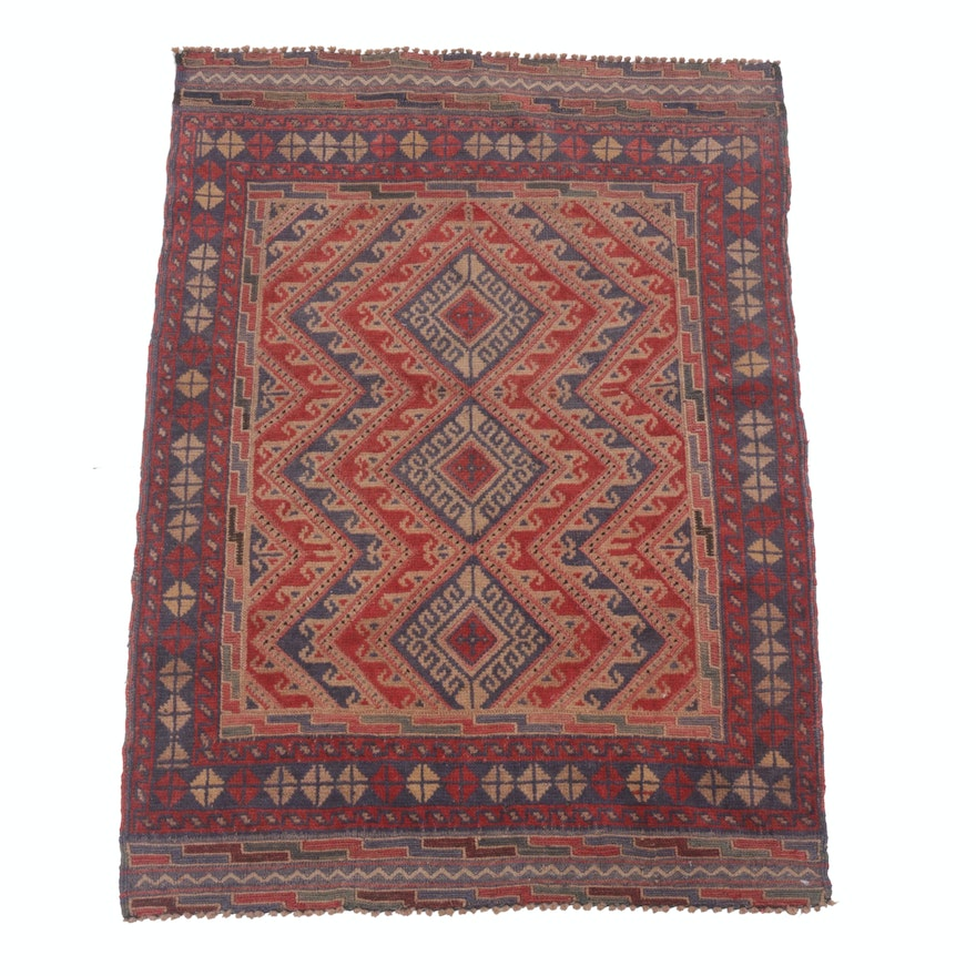 2'7 x 3'9 Hand-Knotted Persian Balouch Rug, Circa 1920s