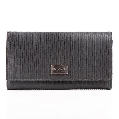 BVLGARI Continental Wallet in Embossed Black Leather