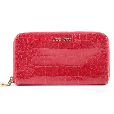 Miu Miu Continental Wallet Clutch in Embossed Red Patent Leather