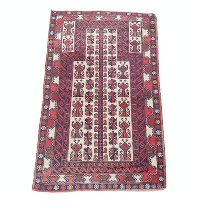 2'10 x 4'10 Hand-Knotted Persian Baluch Prayer Rug, circa 1930